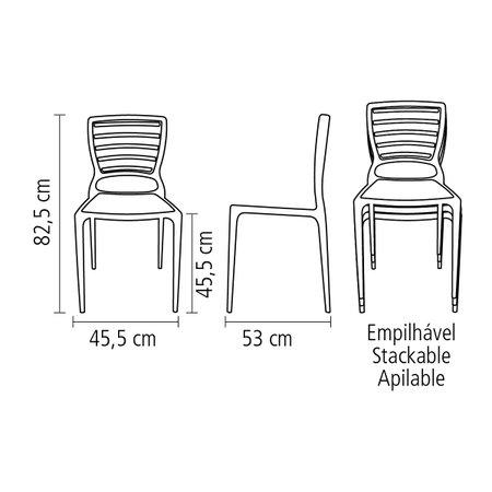 Cadeira Sofia Encosto Horizontal Azul Tramontina 92237070