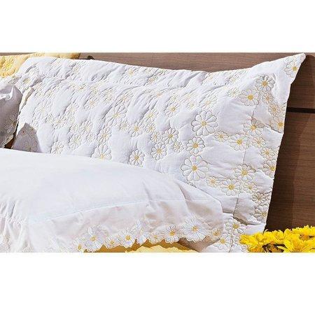 Kit Cobre Leito Casal Queen 03 Peças Bordado Percal 200 Fios Nuance Branco/Amarelo - Bernadete Casa