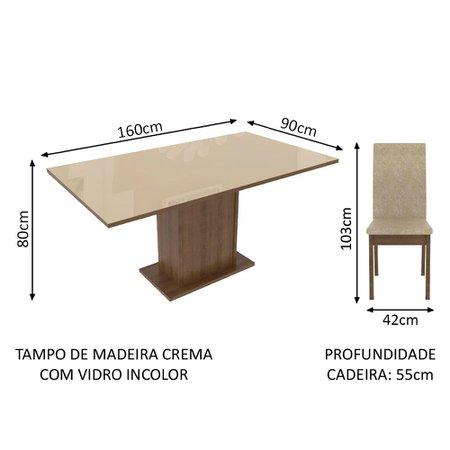 Conjunto Sala de Jantar Madesa Moscou Mesa Tampo de Vidro com 6 Cadeiras