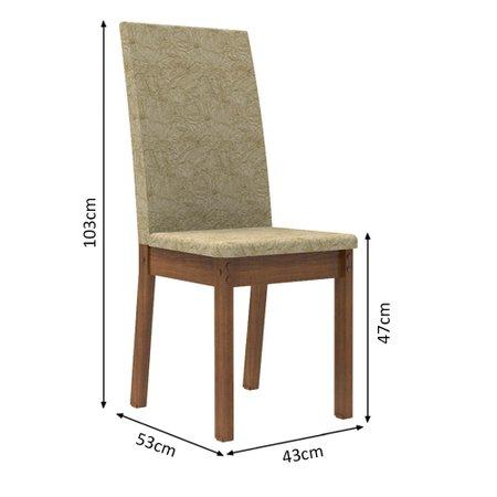 Conjunto Sala de Jantar Madesa Údine Mesa Tampo de Madeira com 6 Cadeiras
