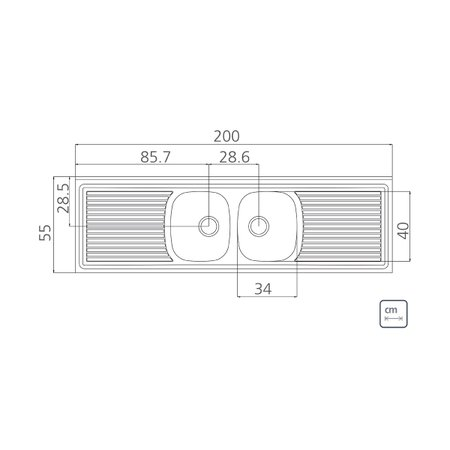 Pia de Apoio Tramontina Ribon 2C 34 em Aço Inox 200 x 55 cm com 2 Cubas
