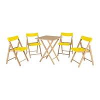 Conunto de Cadeiras e Mesa de Madeira Potenza Dobrável em Madeira Tauari Verniz 5 Peças Tramontina 10630064