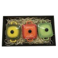 Panelinhas Amarela, Verde, Laranja de Porcelana com Bandeja rustica