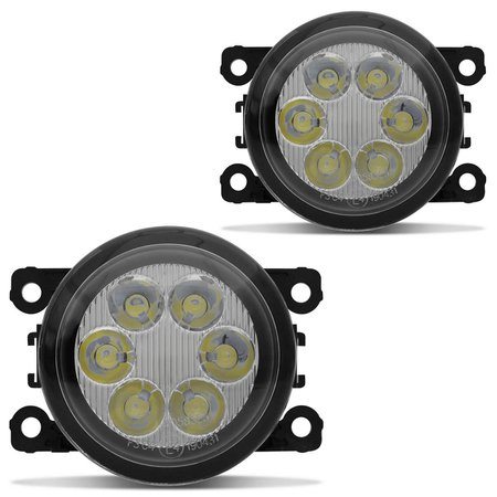 Par Farol de Milha 6 LEDs Peugeot Hoggar 2010 2011 2012 2013 Auxiliar Neblina