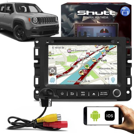 Central Multimídia Jeep Renegade 7 Pol Shutt Espelhamento Via USB e Wifi Android IOS BT GPS + Câmera