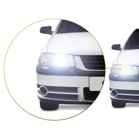 Par Farol Gol Parati Saveiro G3 2000 a 2005 Foco Simples Máscara Cromada + Par Lâmpada LED 6000K