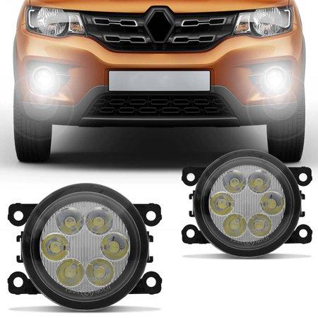 Par Farol de Milha 6 LEDs Renault Kwid 2017 2018 Auxiliar Neblina