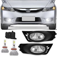 Kit Farol de Milha New Civic 2009 2010 2011 Neblina + Kit Super LED 3D H11 6000K Efeito Xenon