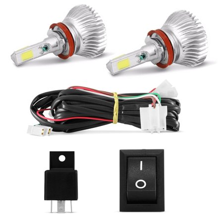 Kit Farol de Milha Ranger 13 14 15 Moldura Milha Cromado + Kit Super LED 3D H11 6000K Efeito Xênon