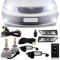 Kit Farol Milha Corolla 2003 2004 Fielder 2005 2006 2007 Auxiliar + Par Lâmpada Super LED 6000k