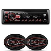 MP3 Player Pioneer MVH-98UB 1 Din + Par Alto Falantes Bomber Bicho Papão 6x9