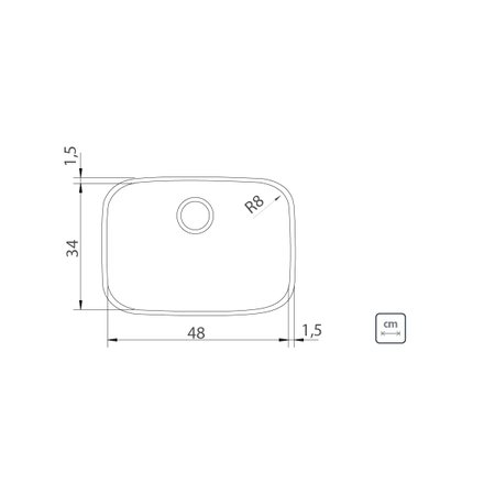 Cuba de Embutir Tramontina Lavínia 48 BL em Aço Inox Acetinado 48 x 34 x 18 cm com Válvula
