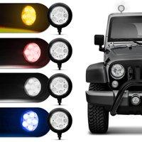 Farol de Milha Auxiliar Redondo Slim Universal 6 LEDs 12V 24V Vermelho Autopoli