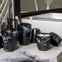 Suporte Porta Escova Dente Creme Dental Plastico Marmorizado Preto Nero Fechado