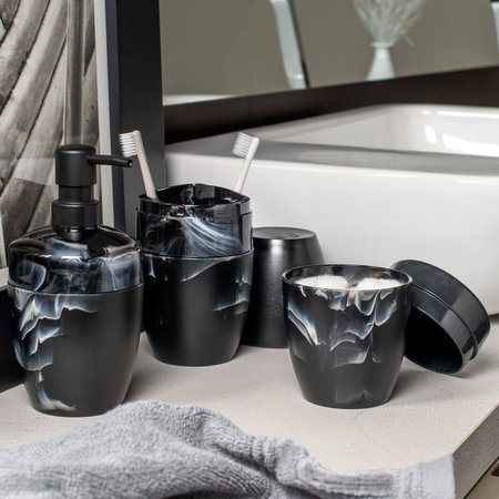 Kit Acessórios Para Banheiro De Plástico Design Marmorizado Preto Nero