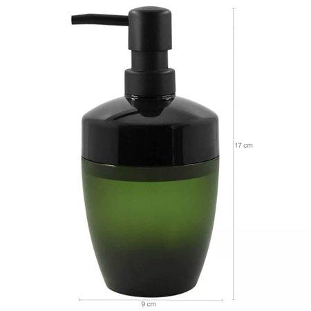 Kit De Banheiro Ou Plastico 4 Acessórios Design Vidro Fosco Verde