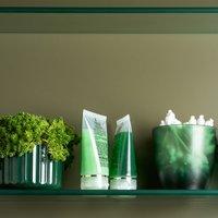 Porta Algodão Cotonete Organizador De Banheiro Aspecto Fosco Verde