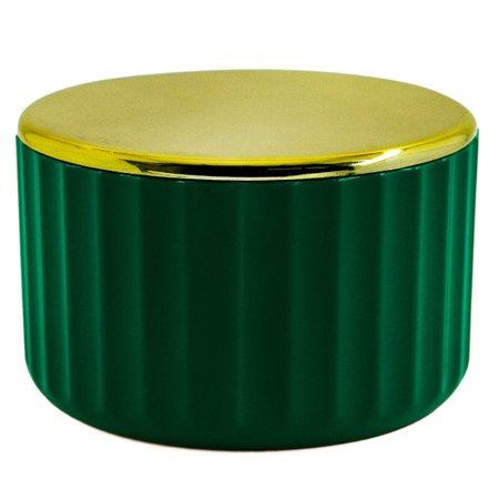 Suporte Porta Algodão Cotonete Groove Acessório Banheiro Ou Verde Botânico Fechado