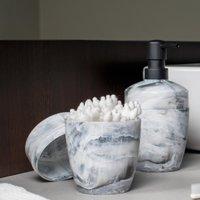 Porta Sabonete Líquido Saboneteira Plastico Marmorizado Branco Carrara