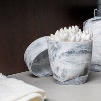 Kit Acessórios Para Banheiro De Plástico Design Marmorizado Branco Carrara