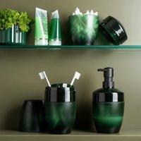 Porta Escovas De Dente E Creme Dental Efeito Vidro Fosco Ou Verde