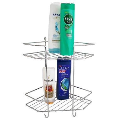 Suporte Duplo De Canto Porta Shampoo Aço Cromado Box Lavabo