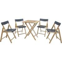 Conjunto de Cadeiras e Mesa de Madeira Tramontina Potenza Dobrável em Madeira Teca Verniz e Polipropileno Marrom 5 Peças