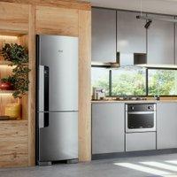 Geladeira Consul Frost Free Duplex 397 litros Evox Com Freezer Embaixo