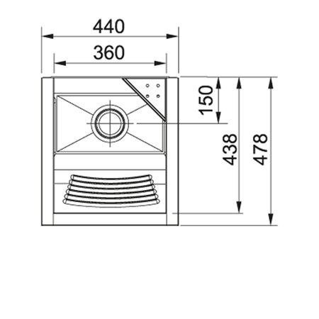 Tanque Inox TS360 C/ Espelho - 23 Litros - Franke