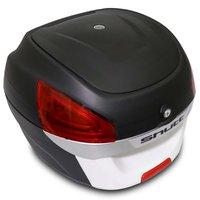 Baú Moto Bauleto 29 Litros Shutt Universal Preto e Branco Bagageiro Com Chave Base de Fixação 28 30