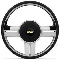 Volante Esportivo Rallye Slim Prata Corsa Celta Astra Com Acionador de Buzina Sem Cubo + Emblema GM