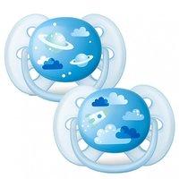 Chupeta Ultra Soft 6-18 2 un. Azul Foguete Planeta - Avent