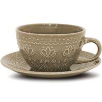 Xícara Corona Com Pires Chá Café 270ml De Cerâmica