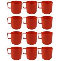 12 Canecas Copos Plásticos Escolar Refeitório Lanche Merenda Vermelho