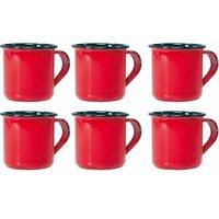 Jogo 6 Canecas Xícaras De 70ml Chá Café Esmaltadas Cozinha Vermelha
