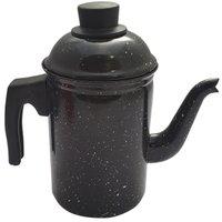 Bule De Café Chá Ágata Esmaltado Retro 1,5 Litros Preto