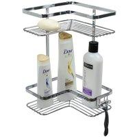Cantoneira Dupla Porta Shampoo Para Banheiro Evoluzione - Cromado