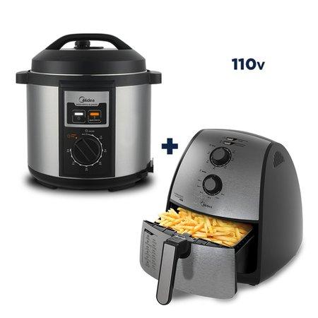 Fritadeira Sem Óleo Midea 4l Inox + Panela Elétrica de Pressão Midea Practia 1000W 6l