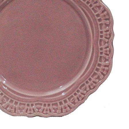 Prato para Sobremesa Cerâmica Romantic Lilás 6 peças Scalla