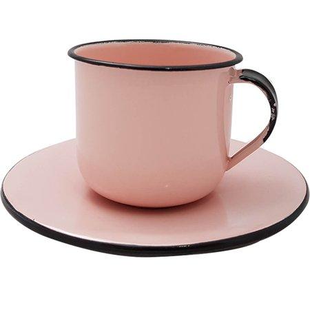 Xícara Colorida Com Pires Para Chá Café 180ml Rosa