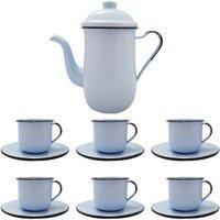 Kit Bule De Café E Chá Com 6 Xícaras e Pires Aço Esmaltado Azul