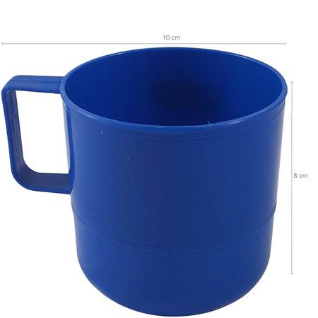 Caneca Copo Plástico Escolar Para Refeitório Lanche Merenda Azul Marinho