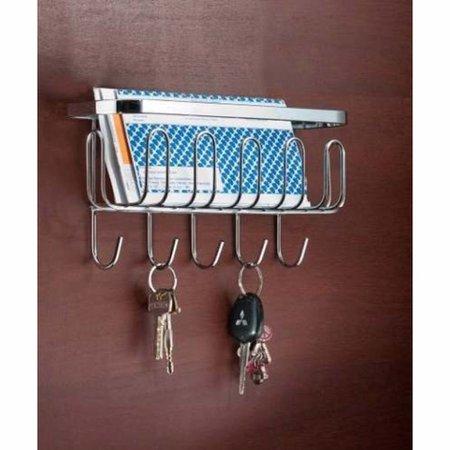 Porta Chaves Organizador De Correspondências Para Parede - Aço Cromado