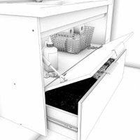 Gabinete De Banheiro 100% Mdf Lavanda 59 Cm Frente Vidro Amendoa/Off White - Mgm