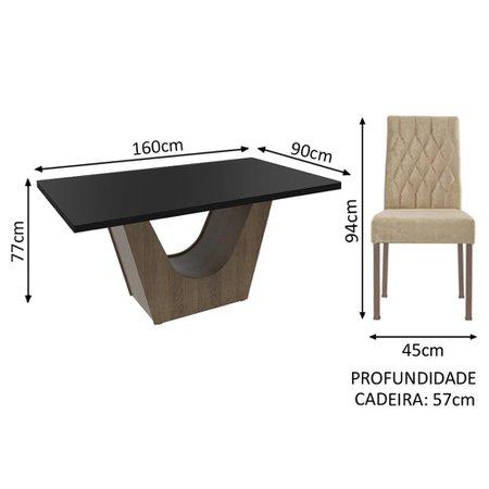 Conjunto Sala de Jantar Madesa Raissa Mesa Tampo de Madeira com 4 Cadeiras