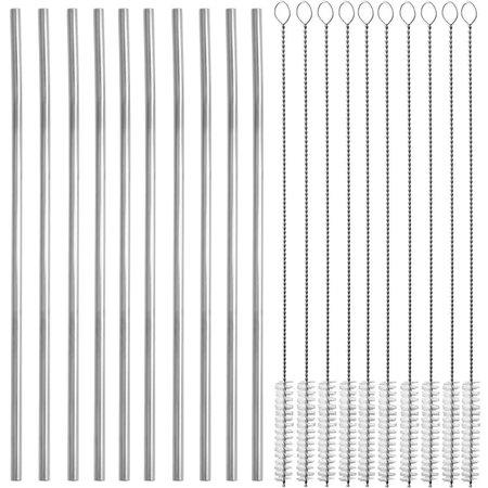 Kit 10 Canudos Inox Sustentável Reto 5mm Com 10 Escovinhas com 21cm