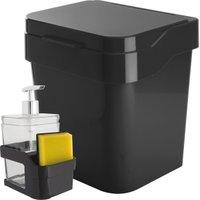 Porta Esponja e Detergente de Pia e Lixeira 3 Litros Bancada Preto