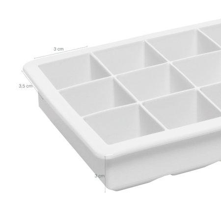 Forma Gelo Silicone Maleável 15 Aberturas Molde Formato Cubo Branco