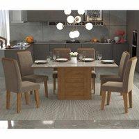Sala Jantar Rafaela 180 Cm x 90 Cm Com 6 Cadeiras Tais C/Moldura Savana/Off White/Pluma - Cimol