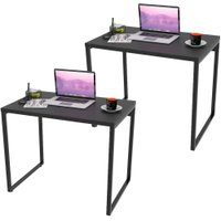 Kit 02 Mesas Para Escritório Home Office Estilo Industrial Form 90 cm Preto Onix - Lyam Decor